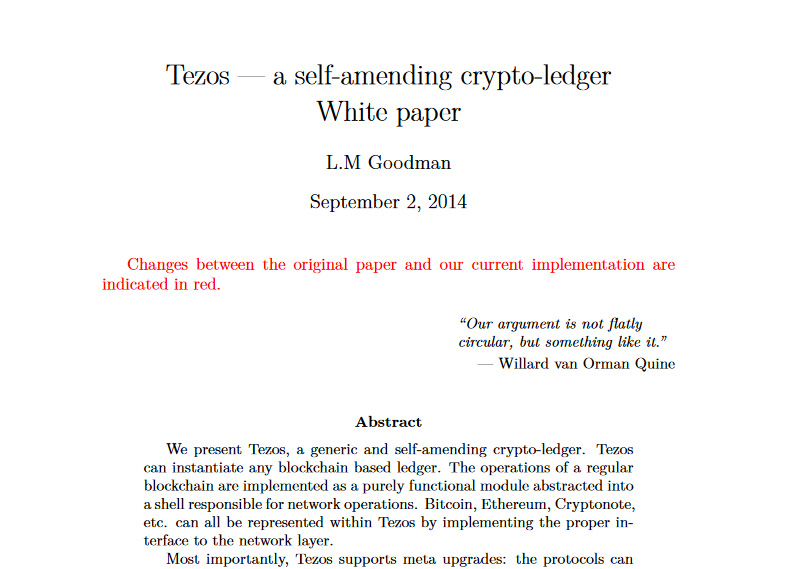 Tezos Whitepaper