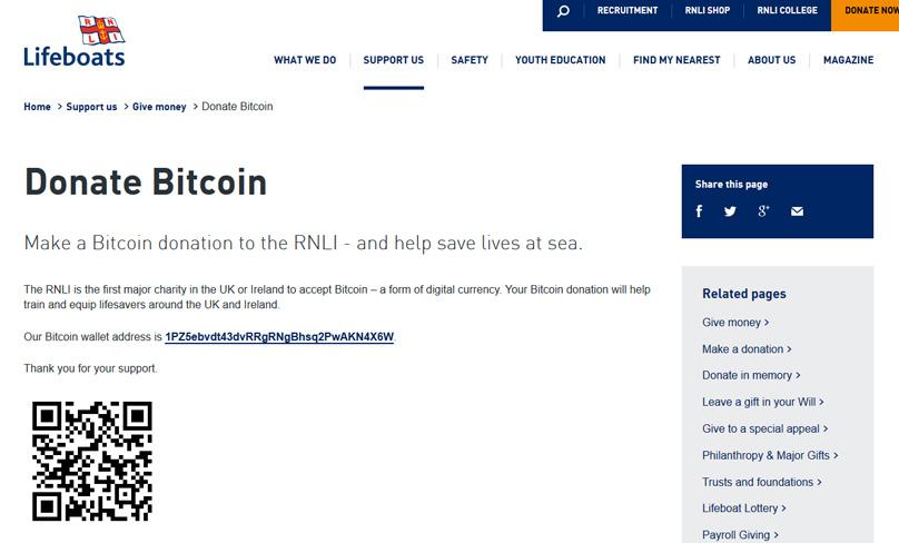RNLI Bitcoin Donations