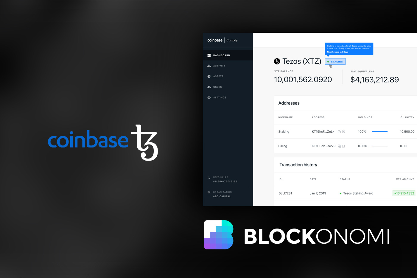 Coinbase Custody Activates Staking Support for Tezos (XTZ)
