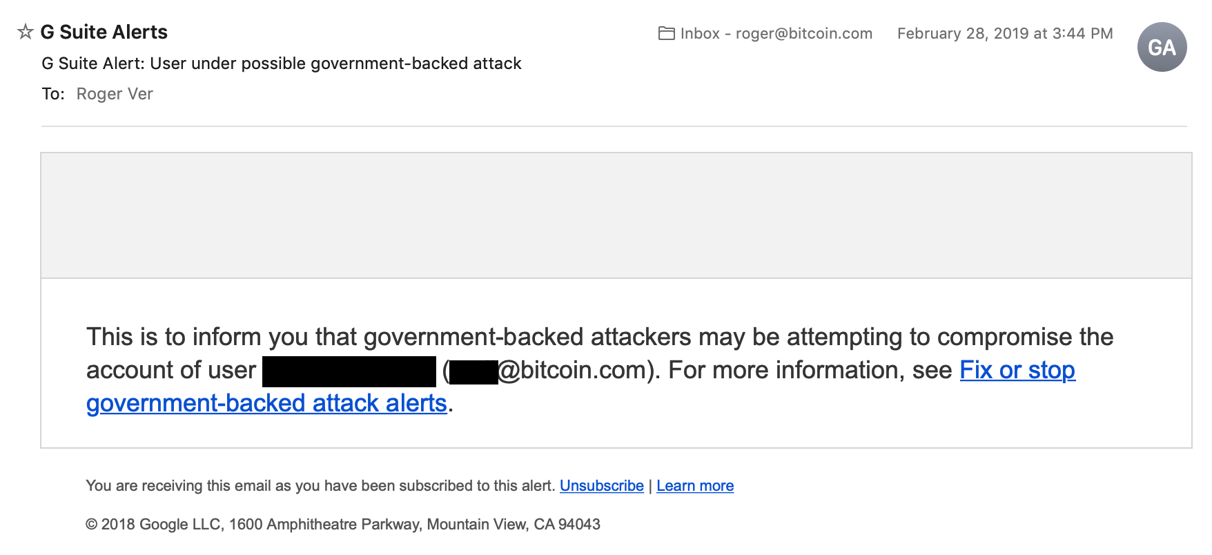 Bitcoin Google Warning