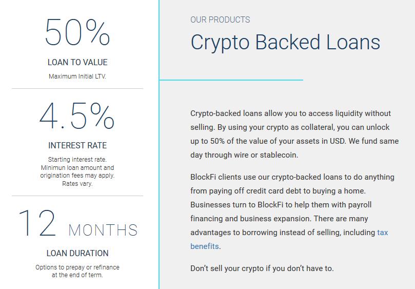 BlockFi Crypto Backed Loans