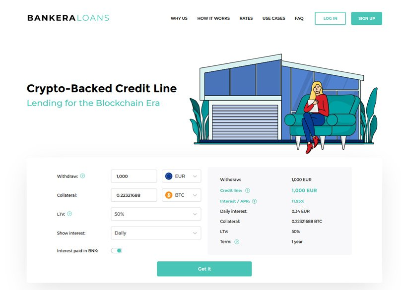 Bankera Loans Homepage