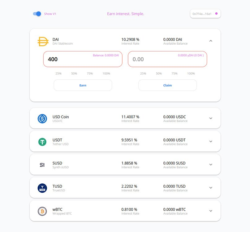 iearn's minimal interface