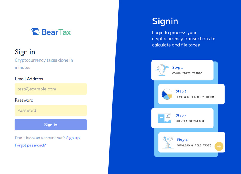 BearTax Signup Page