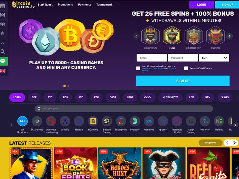 Bitcoin Casino Homepage