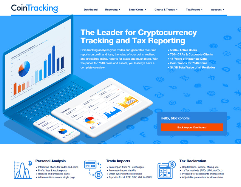 Cointracking Homepage