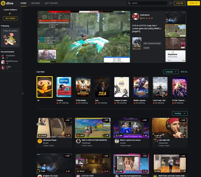 DLive Homepage