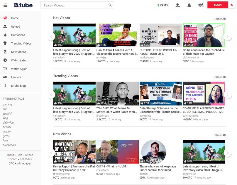 DTube Homepage