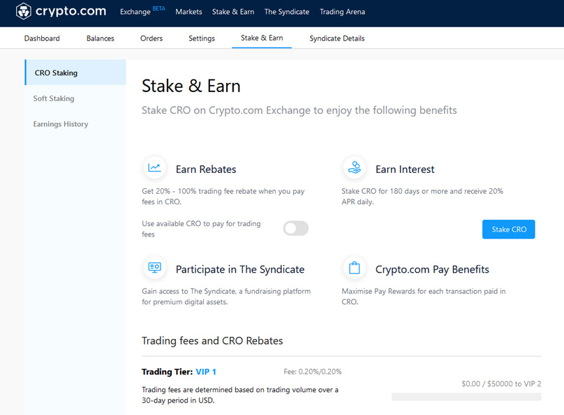 Stake CRO on Crypto.com Exchange