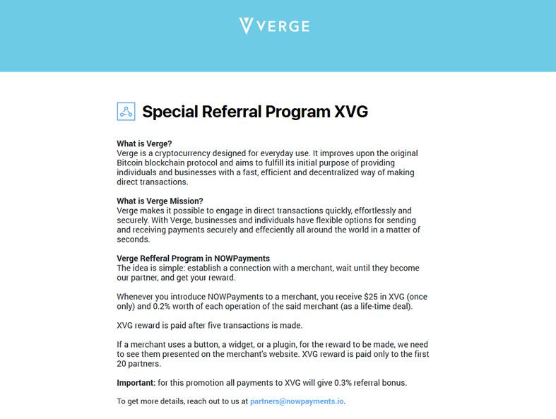 Referral Program in XVG