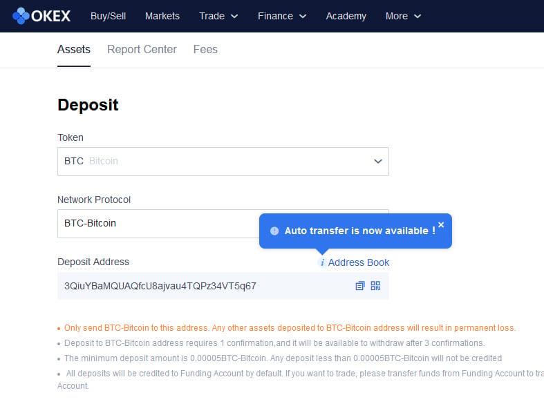 OKEx Deposits