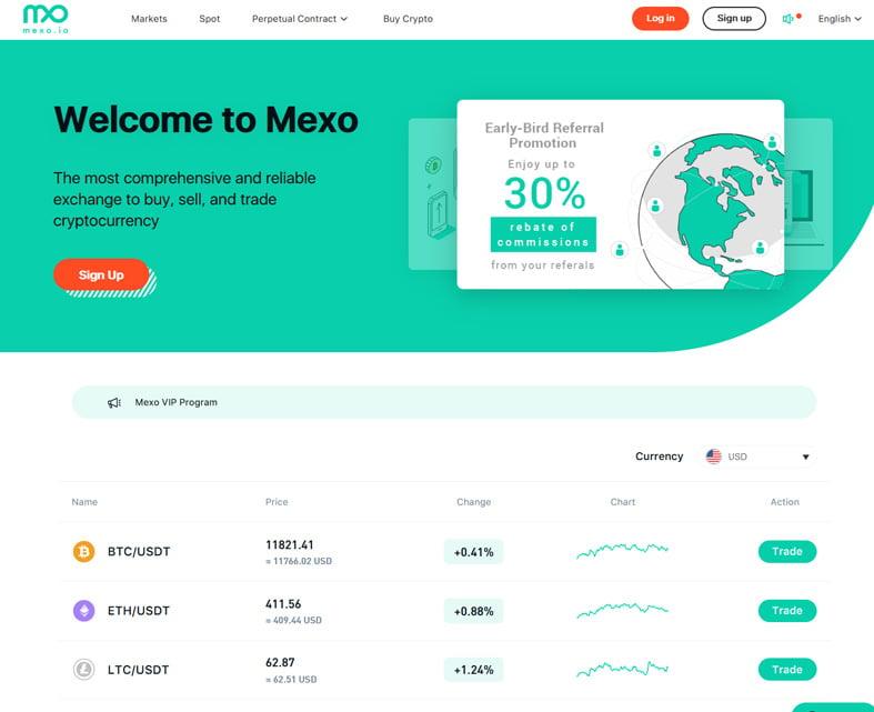 The Mexo homepage