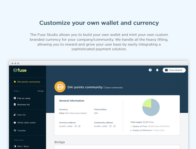 The Fuse Studio allows you to build your own wallet and mint your own custom branded currency