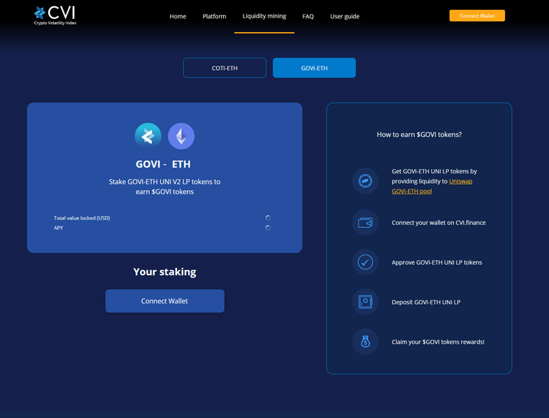 Stake GOVI-ETH UNI V2 LP tokens to earn $GOVI tokens