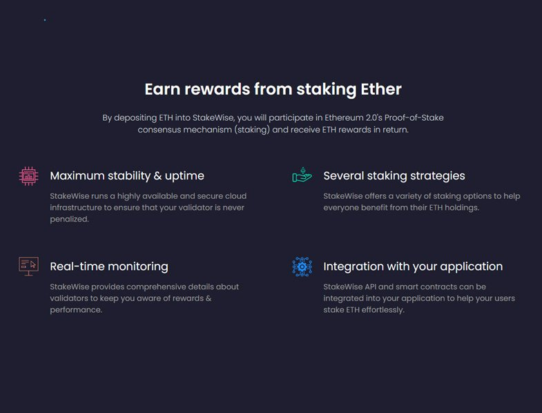 Earn rewards from staking Ether